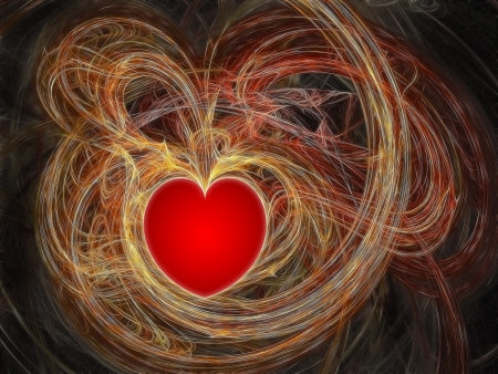 Red heart in fractal waves. High resolution abstract image photo