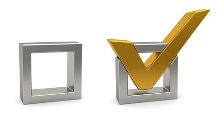 Golden check mark and silver check box on white background. High resolution 3D image Archivio Fotografico