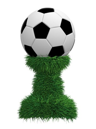 Soccer ball trophy on green grass pedestal isolated on white. High resolution 3D image photo