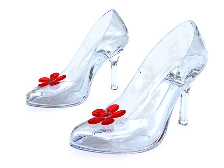 Crystal womens shoes with high heels and red flowers on white background. High resolution 3D image