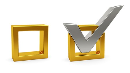 Silver check mark and golden check box on white background. High resolution 3D image photo