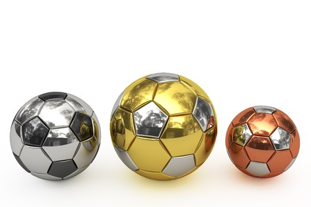 Golden, silver and bronze soccer balls on white background. High resolution 3D image rendered with soft shadows.