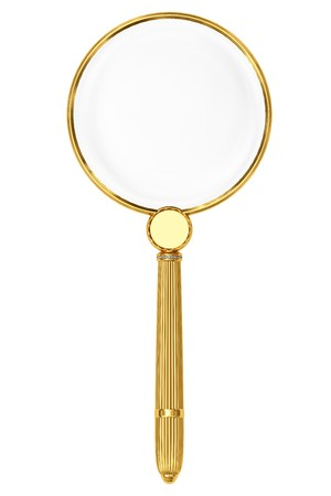 Golden magnifying glass isolated on white. High resolution 3D image Stock Photo - 8083965