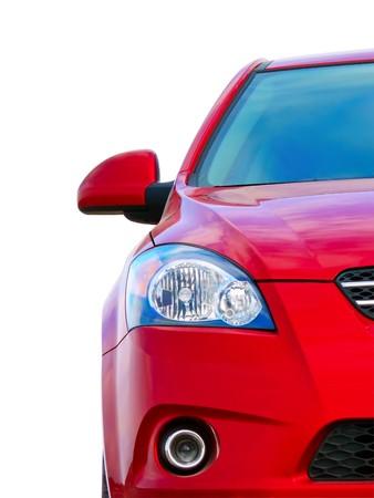 Red sport car, front view, half Archivio Fotografico