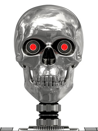 Metallic cyborg head with red eyes isolated on white. high resolution 3D image. Archivio Fotografico