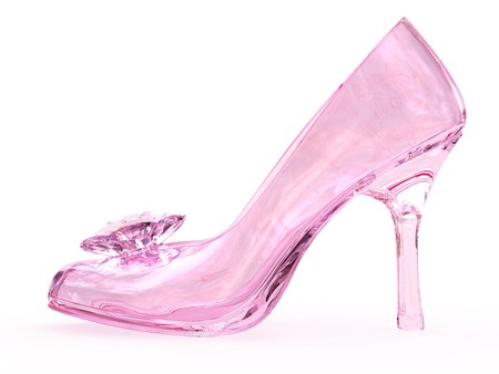 Pink crystal glass female shoe with flower on white background. High resolution 3D image