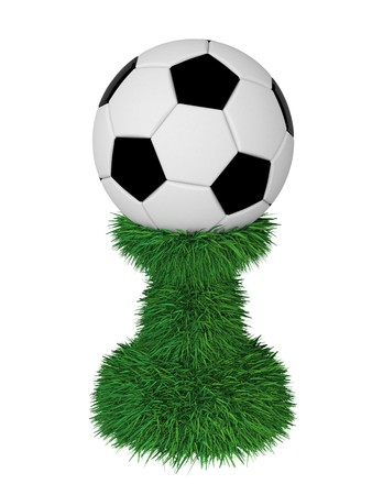 Soccer ball trophy on green grass pedestal isolated on white. High resolution 3D image Stock Photo - 8083974
