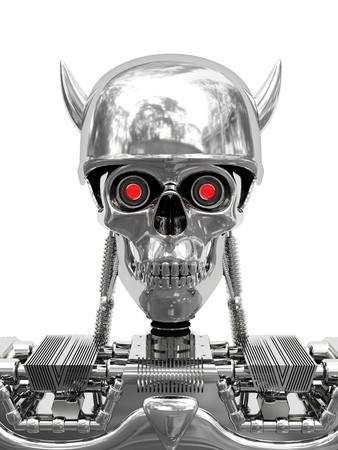 Metallic cyborg in helmet with horns isolated on white. High resolution 3D image.