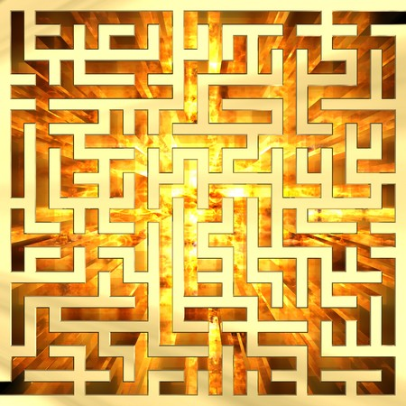 fire surround: Golden labyrinth with flame. High resolution 3D image