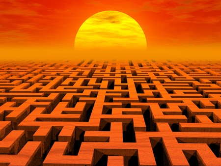 Labyrinth at sunset. High resolution 3D image Archivio Fotografico