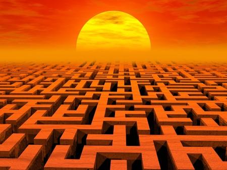 Labyrinth at sunset. High resolution 3D image Stok Fotoğraf