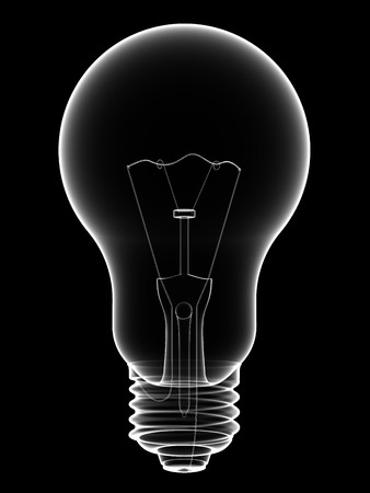 X-Ray lightbulb isolated on black background. High resolution 3D image