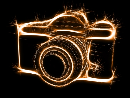 Abstract sparkling silhouette of photocamera. High resolution 3D image Stock Photo - 8287496