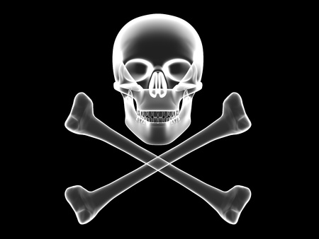 roger: Jolly Roger, skull and crossbones x-ray silhouette. High resolution 3D image