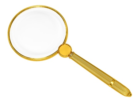Golden magnifying glass isolated on white. High resolution 3D image Stock Photo - 8287503