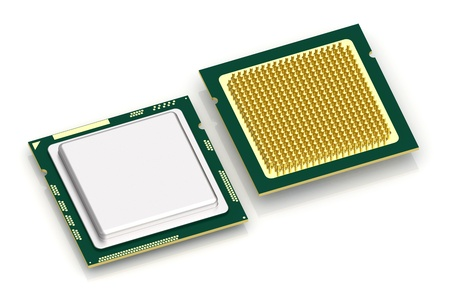 Top and bottom view of CPU processor on white background. High resolution 3D image Stock Photo - 8441096