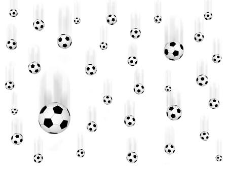 Falling soccer balls on white background. High resolution  3D image photo