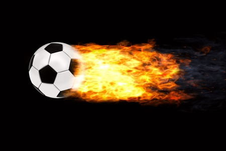 Soccer ball in flames on black background. High resolution 3D image photo