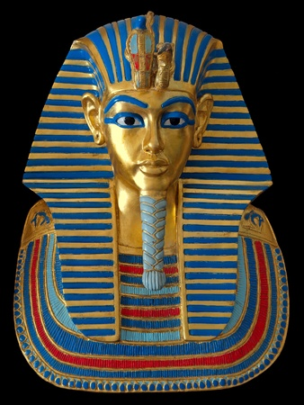 Ancient gold mask of the Egyptian Pharaoh isolated on black background Stock Photo