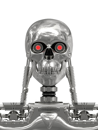 Metallic cyborg isolated on white background. High resolution 3D image.