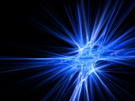 Blue fractal star burst on black background. High resolution abstract image photo