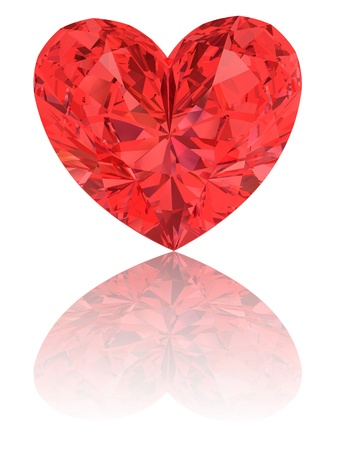 Red diamond in shape of heart on glossy white background. High resolution 3D render with reflections