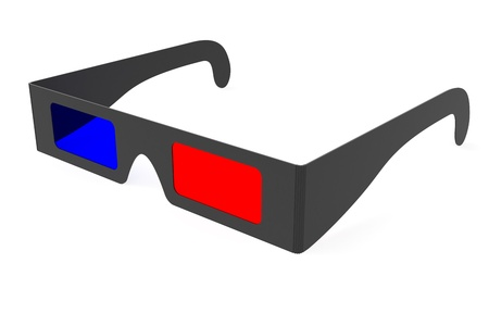 Anaglyph 3D glasses isolated on white background. High resolution 3D image Stock Photo - 8961039