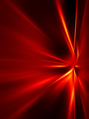 Red and yellow rays on black background. High resolution abstract image