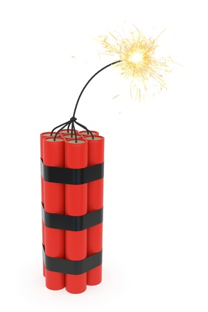 dinamita: De dinamita con quema de mecha sobre fondo blanco. Imagen 3D de alta resoltion
