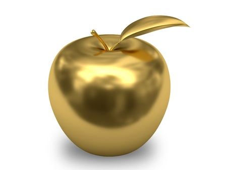 yellow apple: Golden apple on white background. High resolution 3D image.