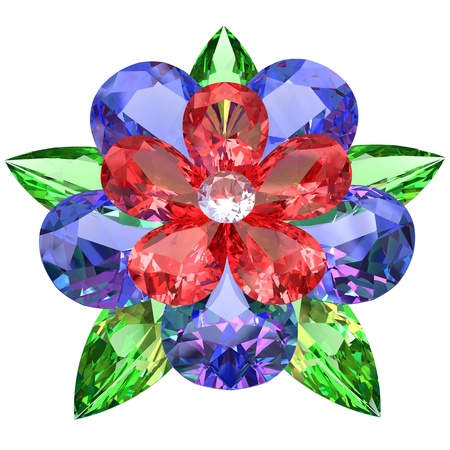 Flower composed of colored gemstones isolated on white background. High resolution 3D image