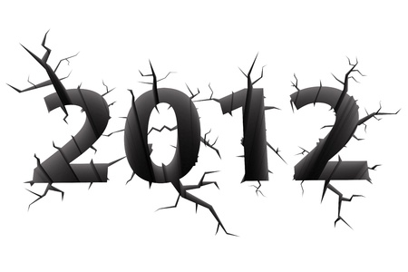 doomsday: Conceptual image of 2012 doomsday year digits cracked in white background. High resolution 3D image