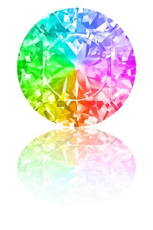 Diamant von Regenbogenfarben auf glänzendem weißen Hintergrund. Hochauflösende 3D-Darstellung mit Reflexionen
