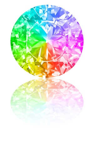 kaleidoscope: Diamond of rainbow colours on glossy white background. High resolution 3D render with reflections