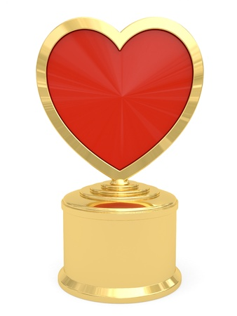 Golden heart shaped prize on white background. High resolution 3D image photo