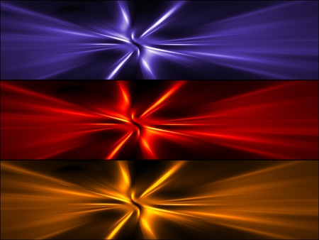Abstract banners set of colorful rays. High resolution 3D image Stock Photo - 12405033