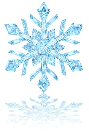 Light blue crystal snowflake on glossy white background. High resolution 3D image Archivio Fotografico