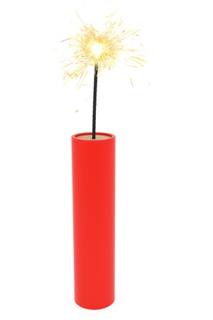 Single dynamite with burning wick on white  High resoltion 3D image