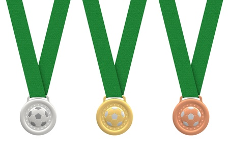 Gold, silver and bronze soccer medals with green ribbons on white background  High resolution 3D image photo