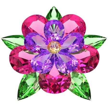 Flor compuesta de piedras preciosas de color Imagen 3D de alta resolución en el fondo blanco