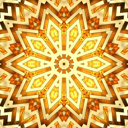 Shiny golden kaleidoscope star  High resolution 3D image photo