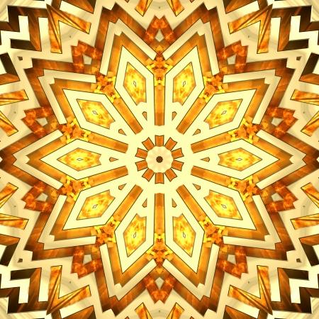 Shiny golden kaleidoscope star  High resolution 3D image photo