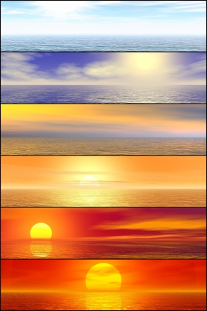 Sunshine seascape header set  High resolution 3D image