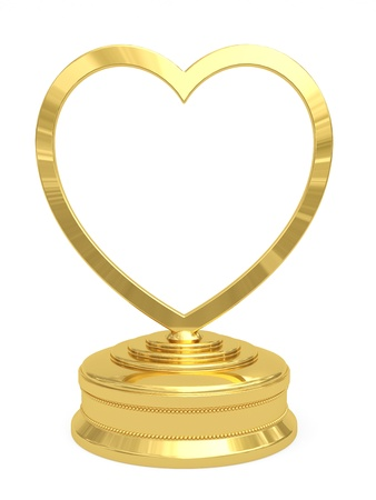 Golden heart shaped prize with blank plate on white background  High resolution 3D image photo