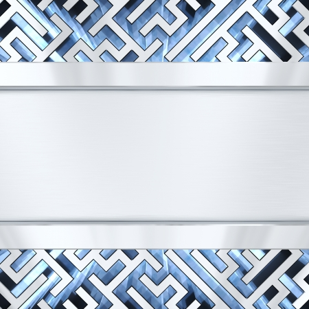brushed metal background: Blank silver plate on maze background with blue light  High resolution 3D image Stock Photo