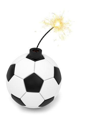 Soccer ball bomb with burning wick on white  High resolution 3D image rendered with soft shadows Stock Photo - 15190921