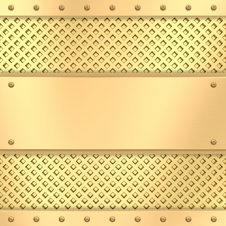 Blank golden plate on grid background with rivets  High resolution 3D image photo