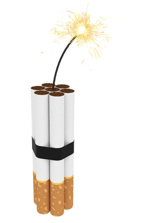 burning time: Dynamite composed of cigarettes with burning wick isolated on white  High resolution 3D image