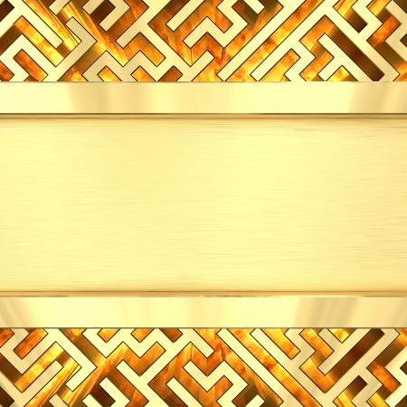 Blank golden plate on maze background with flame  High resolution 3D image photo