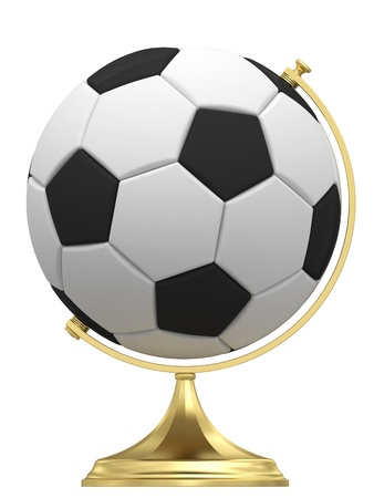 terrestrial: Soccer ball as terrestrial globe on golden stand isolated on white  High resolution 3D image